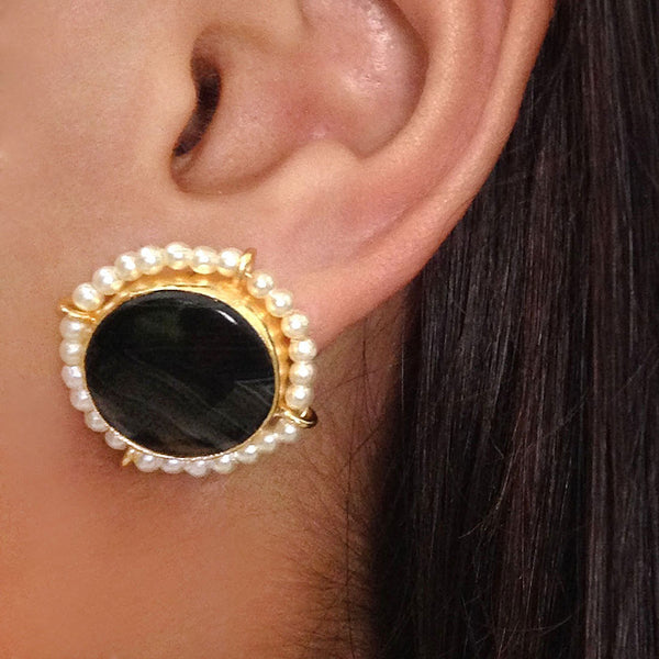 Gold Plated Black Agate & Pearl Brass Earrings