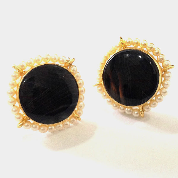 Gold Plated Black Agate & Pearl Brass Earrings by Eesha Zaveri
