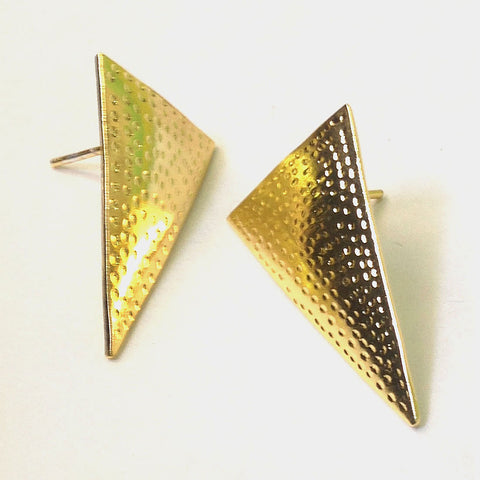 Matt Gold Plated Brass Triangle Earrings by Eesha Zaveri