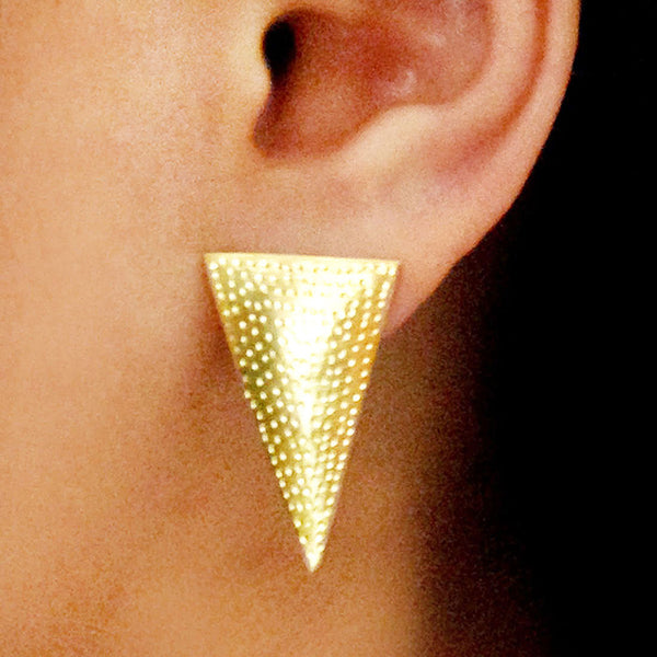 Matt Gold Plated Brass Triangle Earrings