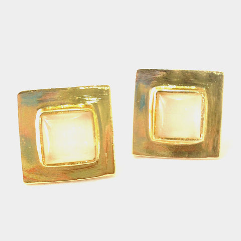 Gold Plated White Moonstone Brass Square Earrings by Eesha Zaveri
