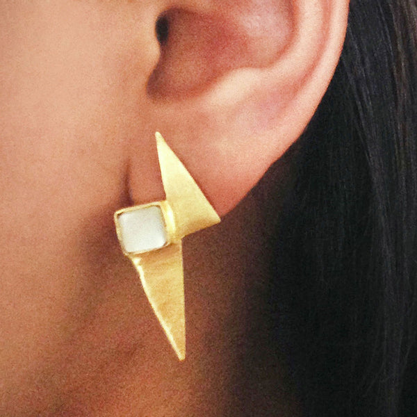 Gold Plated White Mop Stone Brass Earrings