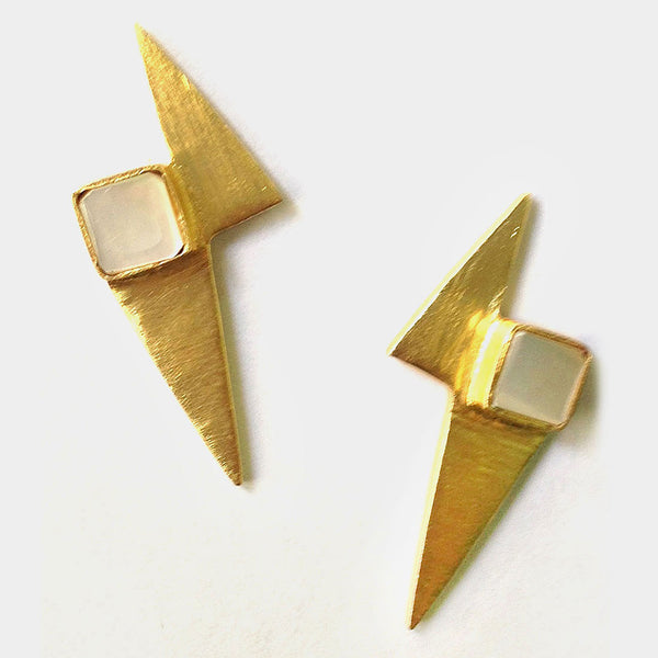 Gold Plated White Mop Stone Brass Earrings by Eesha Zaveri