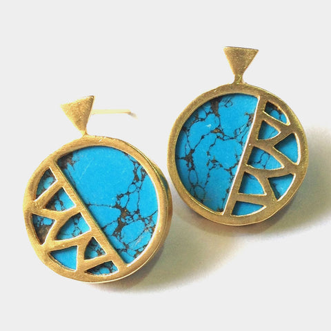 Gold Plated Turquoise Ceramic Brass Earrings by Eesha Zaveri