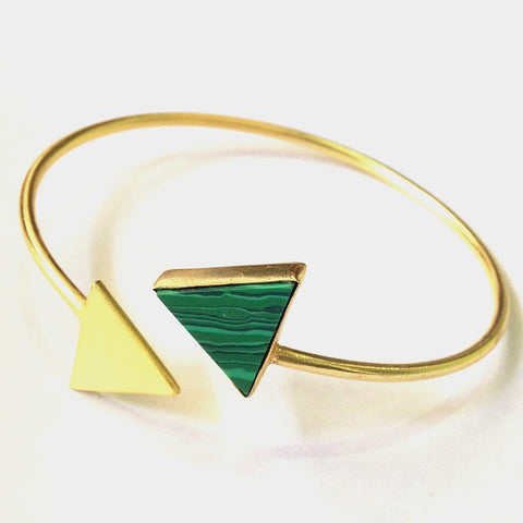 Gold Plated Green Ceramic Triangle Brass Cuff by Eesha Zaveri