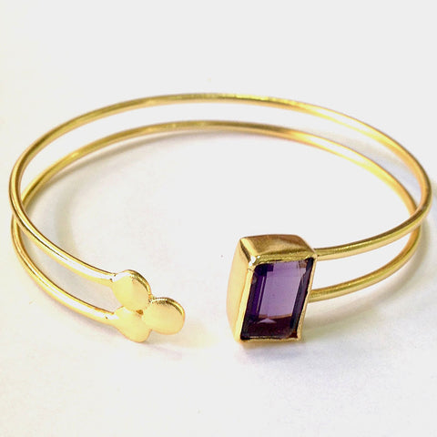 Gold Plated Purple Amethyst Brass Cuff by Eesha Zaveri