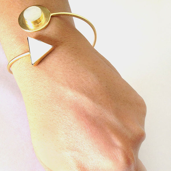 Gold Plated White Mop Stone Brass Cuff