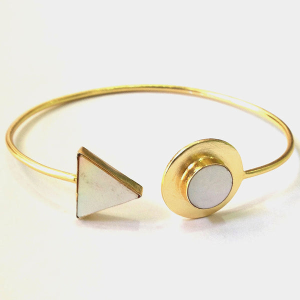 Gold Plated White Mop Stone Brass Cuff by Eesha Zaveri