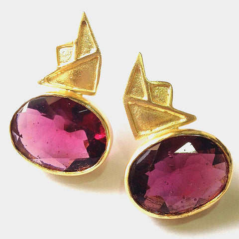 Gold Plated Pink Tourmaline Brass Earrings by Eesha Zaveri