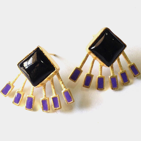 Gold Plated Black Onyx & Purple Enamel Brass Earrings by Eesha Zaveri