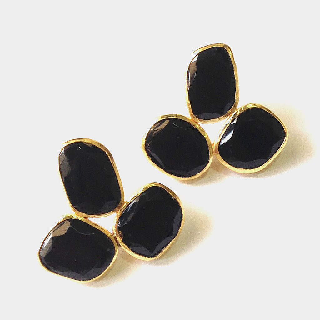 Gold Plated Black Onyx Brass Earrings by Eesha Zaveri