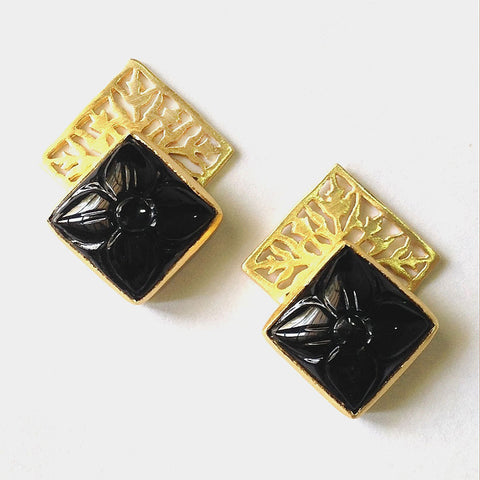 Gold Plated Brass Black Onyx Earrings by Eesha Zaveri