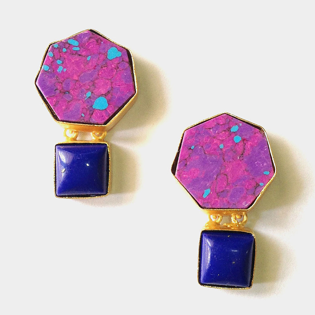 Gold Plated Purple Ceramic Brass Earrings by Eesha Zaveri