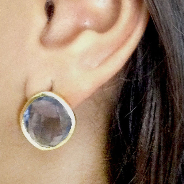 Gold Plated Blue Iolite Brass Earrings
