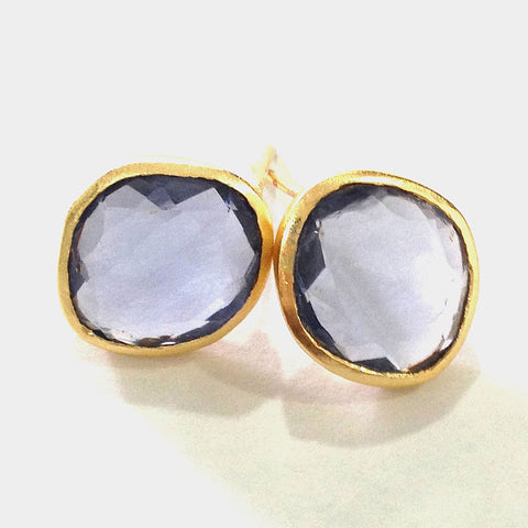 Gold Plated Blue Iolite Brass Earrings by Eesha Zaveri