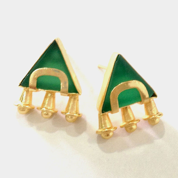 Gold Plated Green Ceramic Brass Earrings