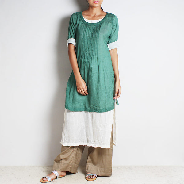 Green Mul Cotton Kaftan Set With Inner And Bottoms by FLAME