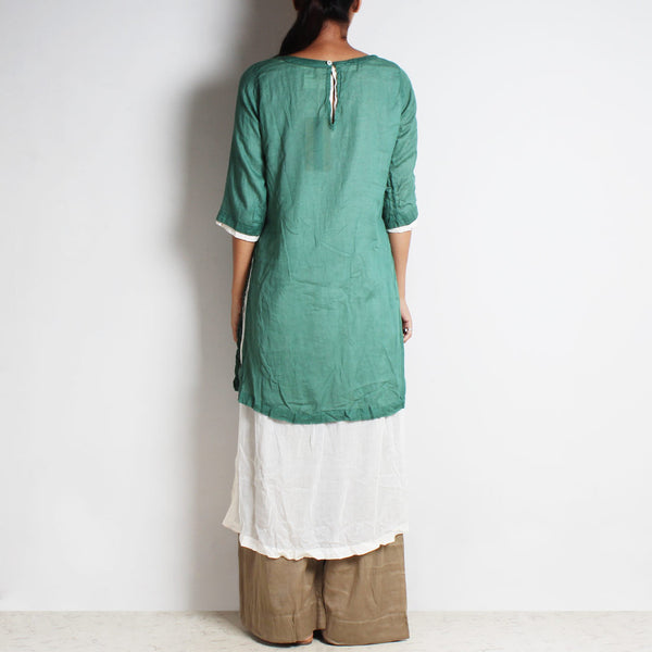 Green Mul Cotton Kaftan Set With Inner And Bottoms
