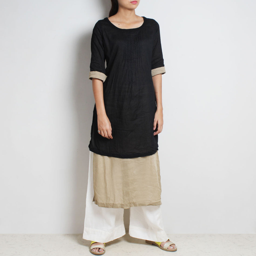 Black Mul Cotton Kaftan Set With Olive Lining And Off-White Bottoms by FLAME