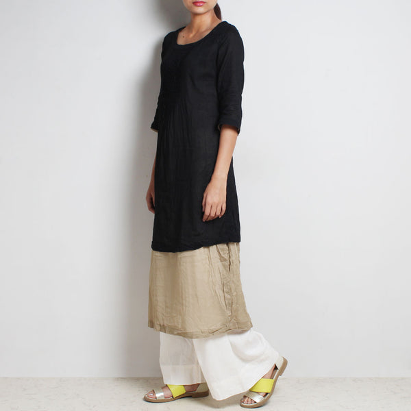 Black Mul Cotton Kaftan Set With Olive Lining And Off-White Bottoms