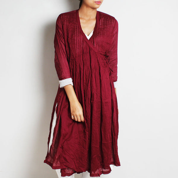 Maroon Mul Cotton Pleated Angrakha With Inner And Bottoms