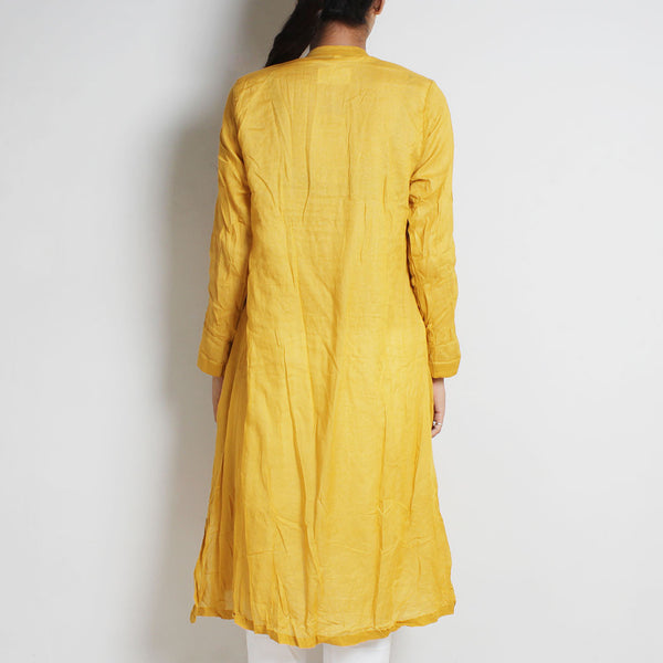 Gold Mul Cotton Pleat Angrakha With Inner And Bottoms
