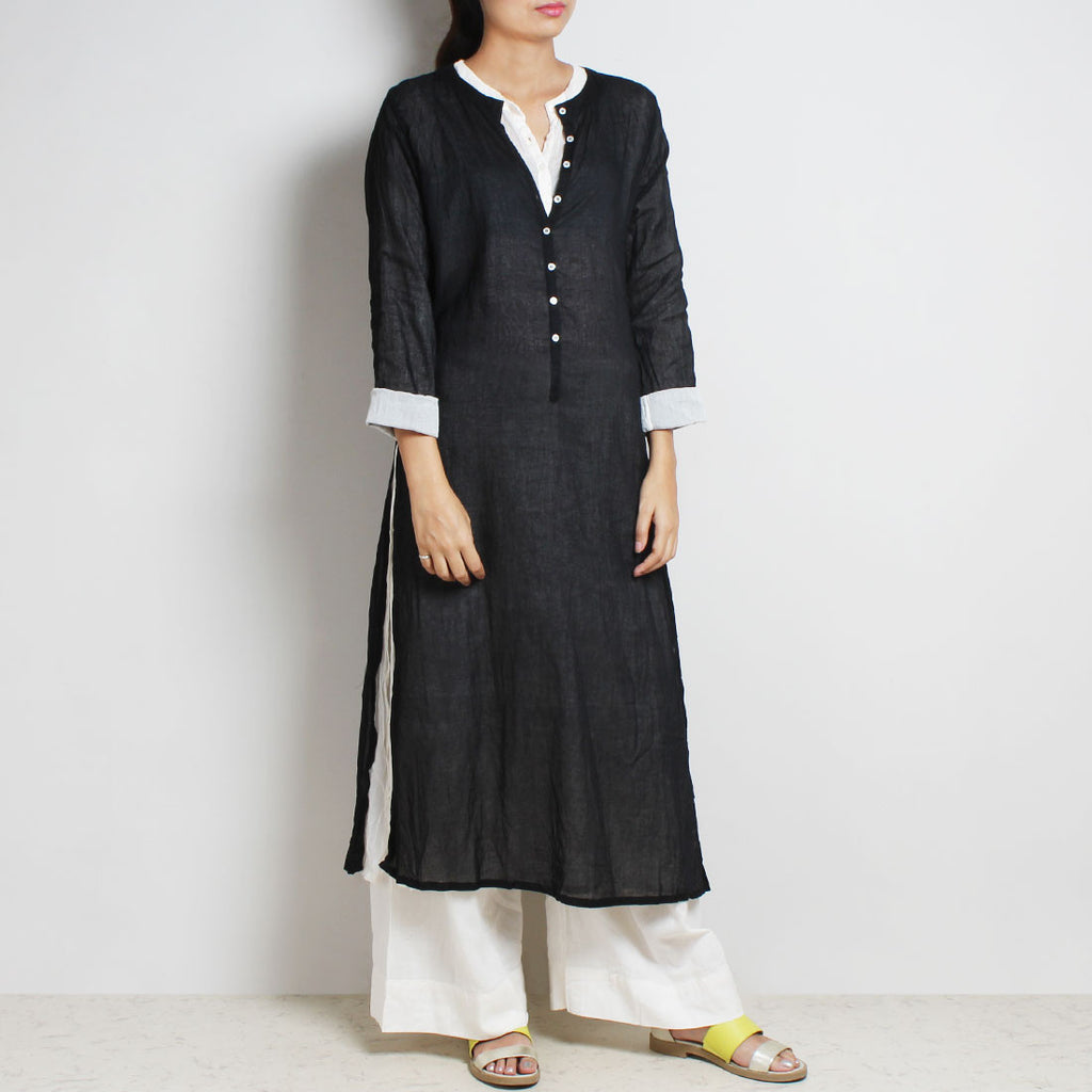 Black Mul Cotton Sabina Kaftan With Inner And Bottoms by FLAME