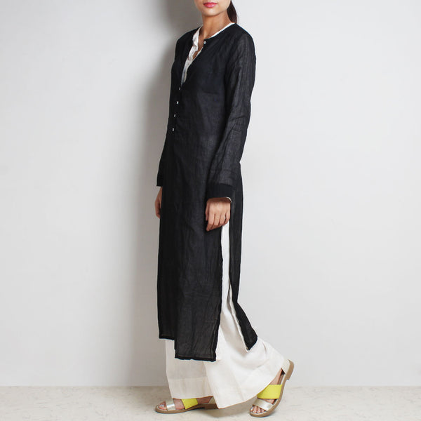 Black Mul Cotton Sabina Kaftan With Inner And Bottoms