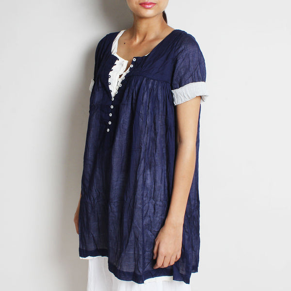 Blue Mul Cotton Nadia Blouse With Inner