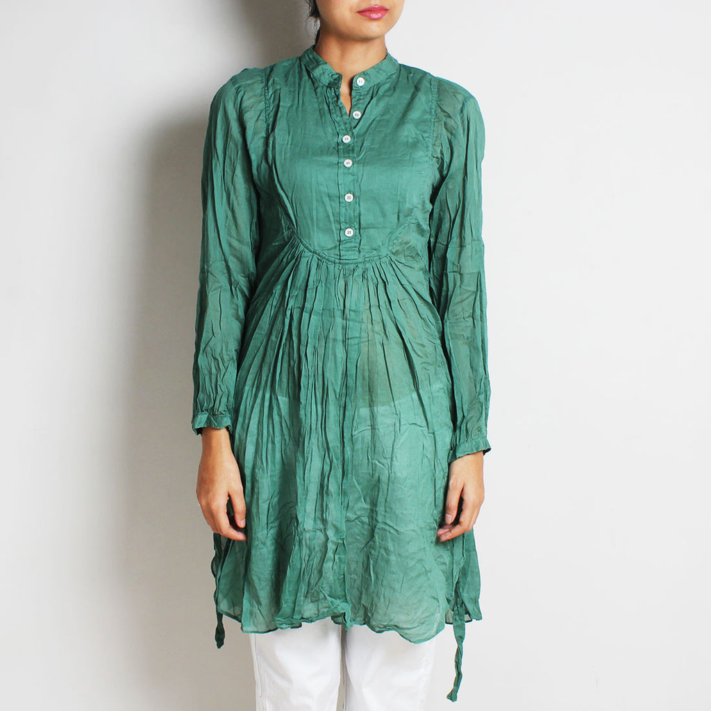 Green Mul Cotton London Blouse by FLAME