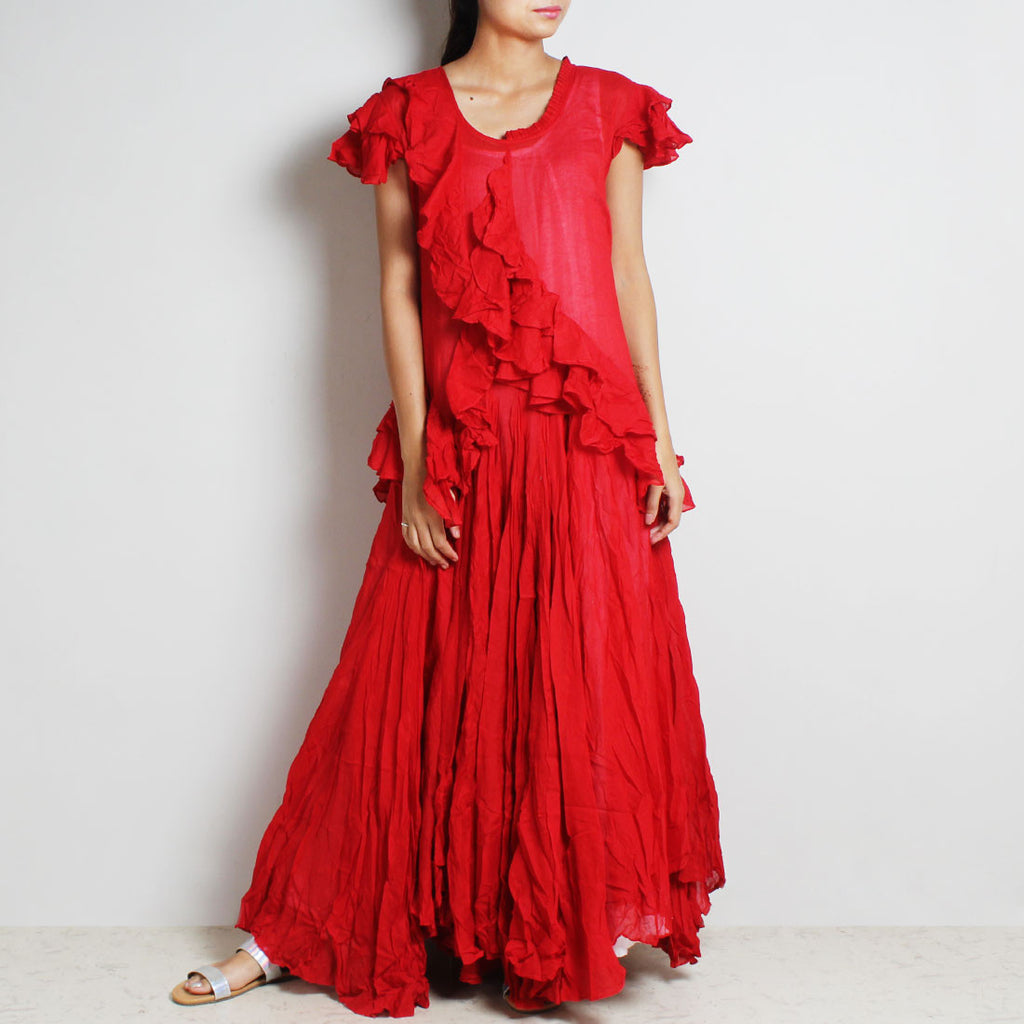 Red Mul Cotton Sanober Long Dress by FLAME