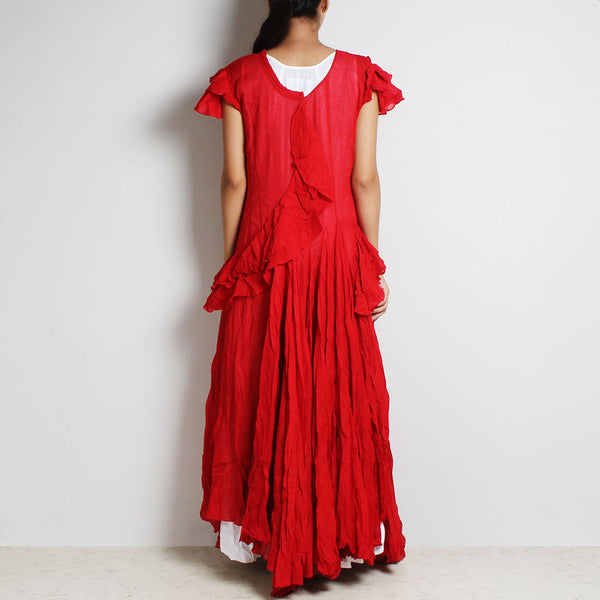 Red Mul Cotton Sanober Long Dress