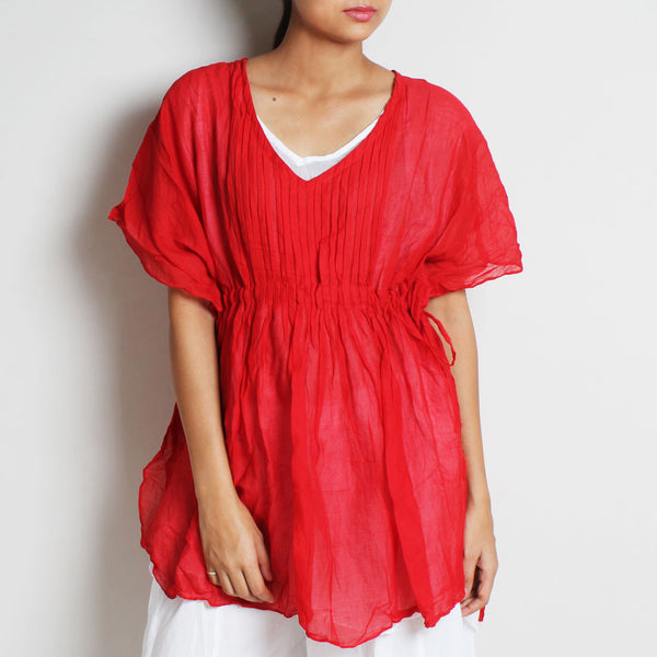 Red Mul Cotton Pleated Goddess Top With Inner