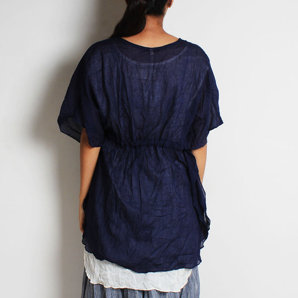 Blue Mul Cotton Pleat Goddess Top With Inner