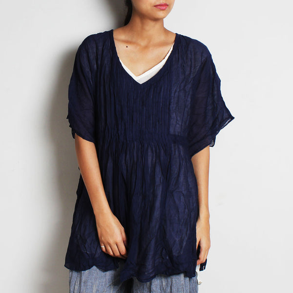 Blue Mul Cotton Pleat Goddess Top With Inner by FLAME