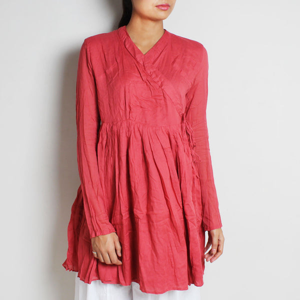 Pink Mul Cotton Full Sleeves Kediya Blouse