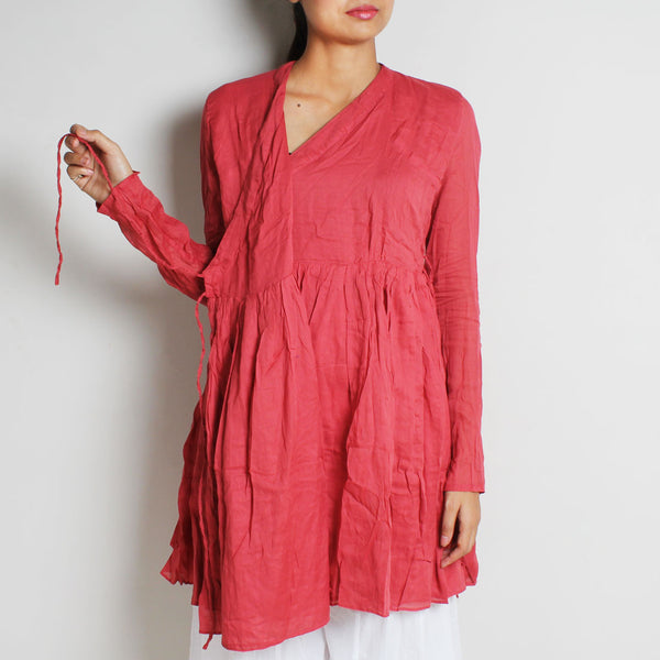 Pink Mul Cotton Full Sleeves Kediya Blouse by FLAME