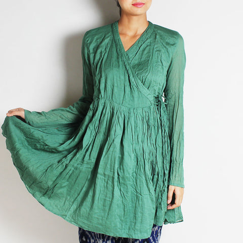 Green Mul Cotton Full Sleeves Kediya Blouse by FLAME
