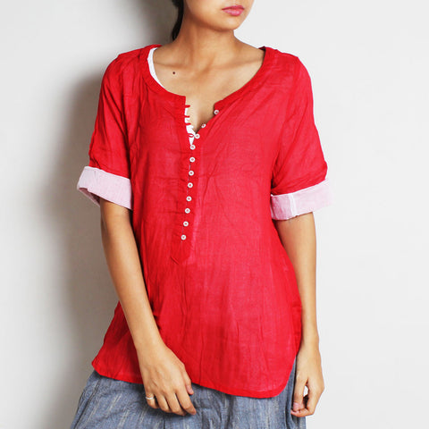 Red Mul Cotton Nelofer Blouse With Inner by FLAME