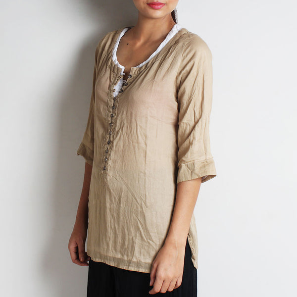 Beige Mul Cotton Nelofer Blouse With Inner