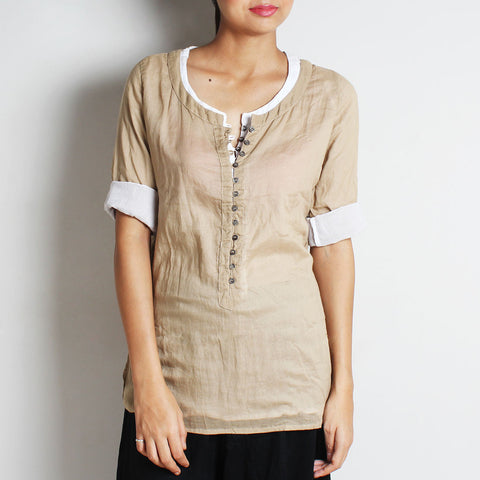 Beige Mul Cotton Nelofer Blouse With Inner by FLAME