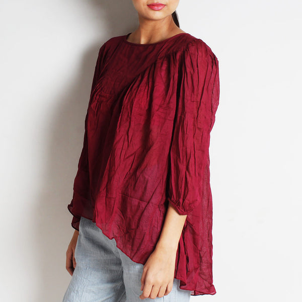 Maroon Mul Cotton Alison Top With Inner