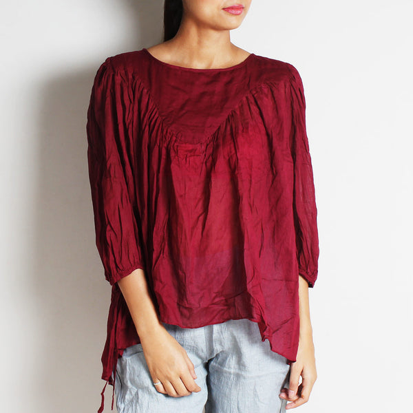 Maroon Mul Cotton Alison Top With Inner by FLAME