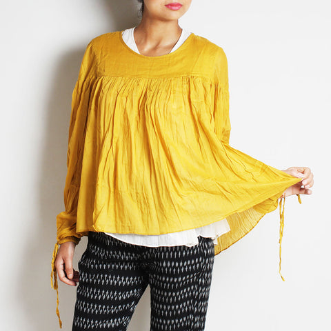 Gold Mul Cotton Bianca Top With Inner by FLAME