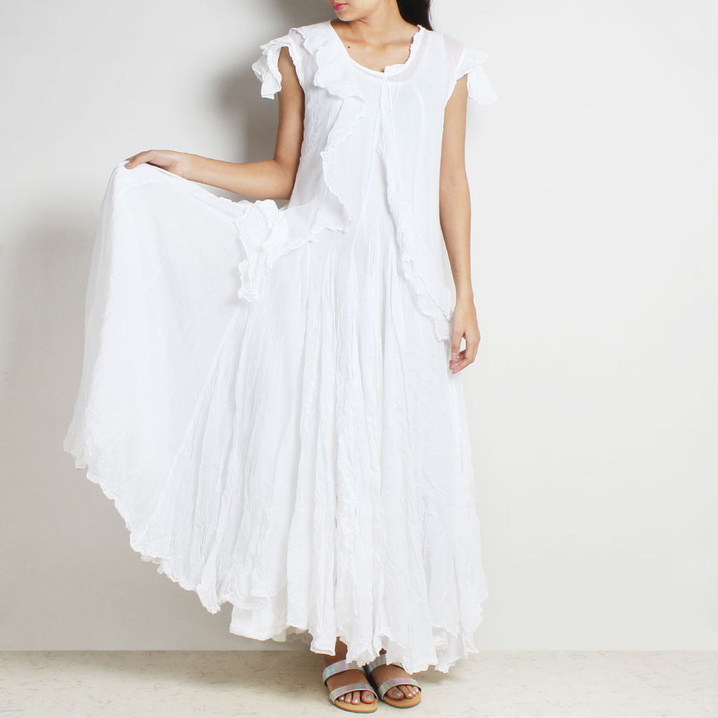 White Mul Cotton Sanober Long Dress by FLAME
