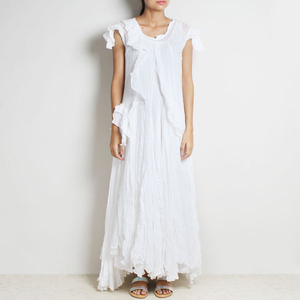 White Mul Cotton Sanober Long Dress