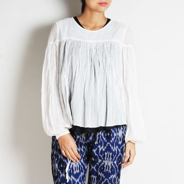 White Mul Cotton Bianca Top With Inner by FLAME