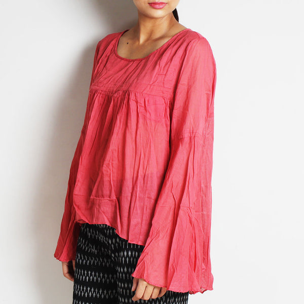 Pink Mul Cotton Chantal Top With Inner