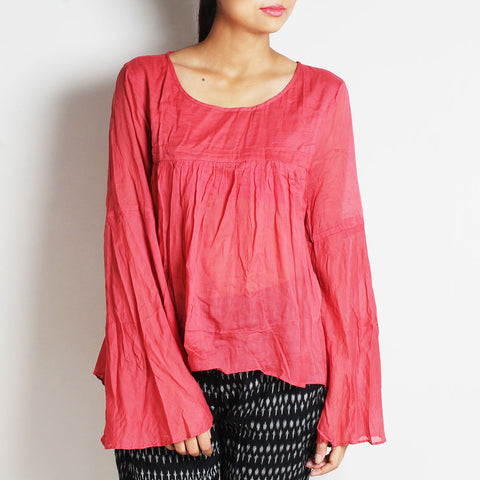 Pink Mul Cotton Chantal Top With Inner by FLAME