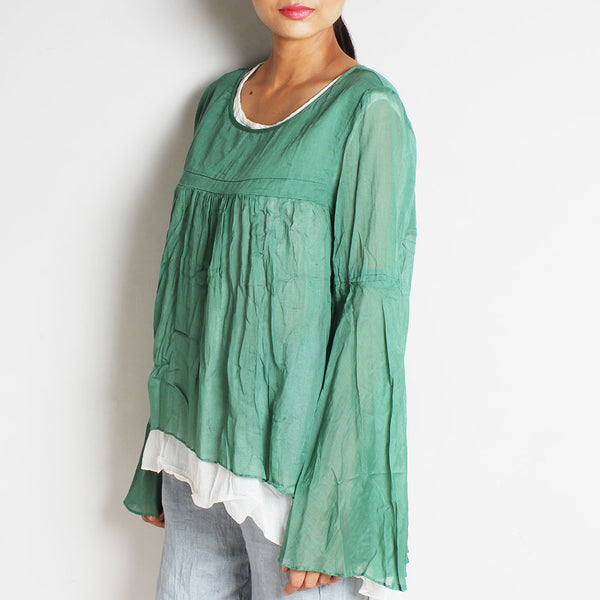 Green Mul Cotton Chantal Top With Inner